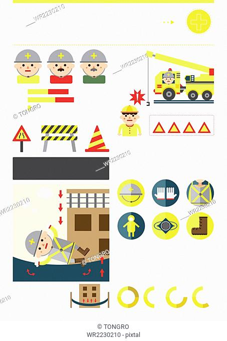 Various infographic images representing safety under construction