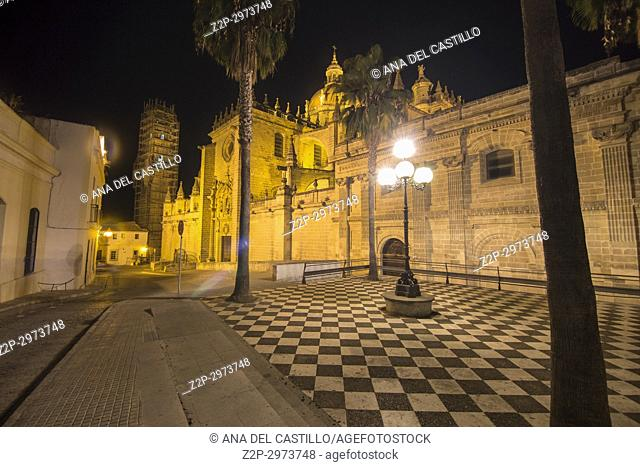 Cathedral by night Jerez de la Frontera Cadiz, Andalusia, Spain