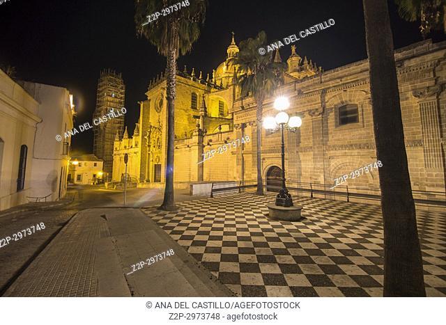 Cathedral by night Jerez de la Frontera Cadiz, Andalusia, Spain