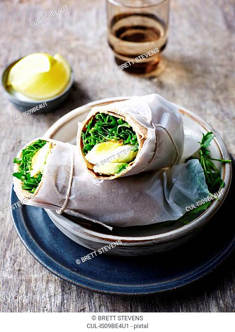 Avocado, rocket and egg wrap, close-up