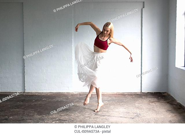 Dancer practising in studio