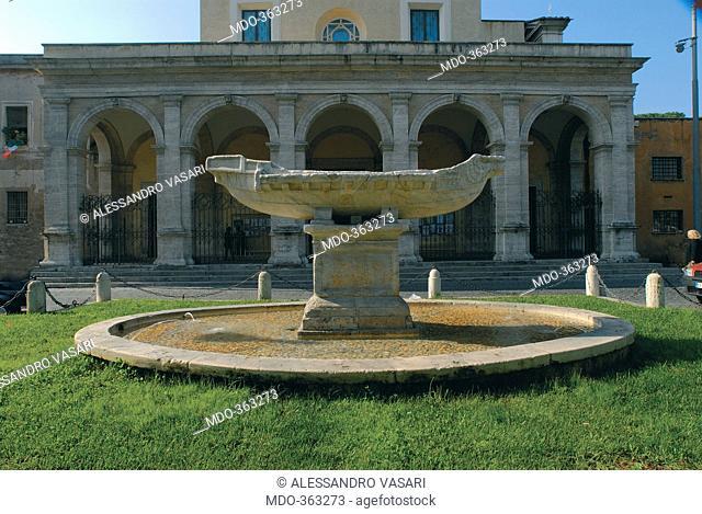 Fountain of Navicella in Rome, by Unknown artist, 1931, 20th Century, . Italy; Lazio; Rome; Piazza Navicella; . View fountain of Navicella boat basin water Rome...