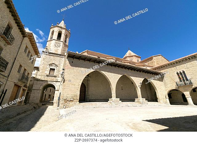 Cantavieja is one of the most prettiest towns in Spain Maestrazgo mountains Teruel Aragon The main square
