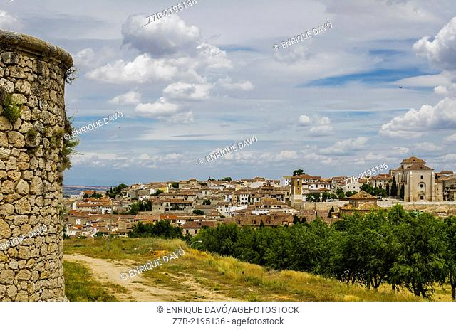 View from a castle tower of Chinchon village, Madrid province, Spain