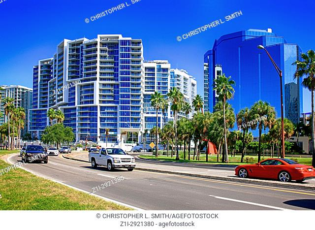 Bayfront Drive in downtown Sarasota FL, USA