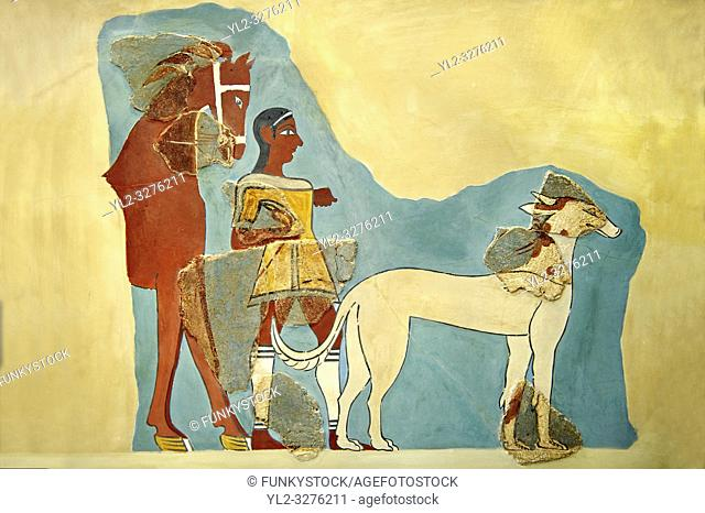 Mycenaean Fresco wall painting of a Mycanaean with horse & wild boar hunting dog from the Tiryns, Greece. 14th - 13th Century BC