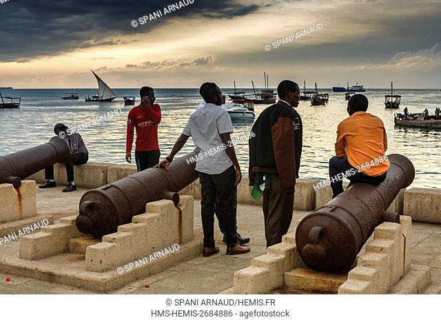 Tanzania, Zanzibar, Zanzibar City, Stone Town, listed as World Heritage by UNESCO, canons of the colonial era on the waterfront at sunset