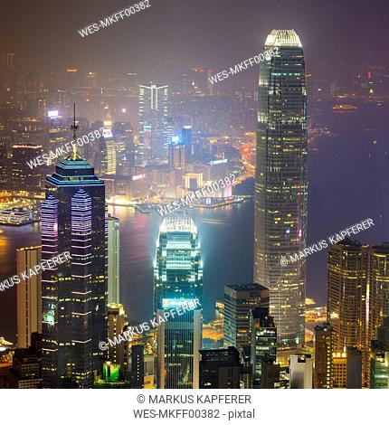 China, Hong Kong, Central and Tsim Sha Tsui at night