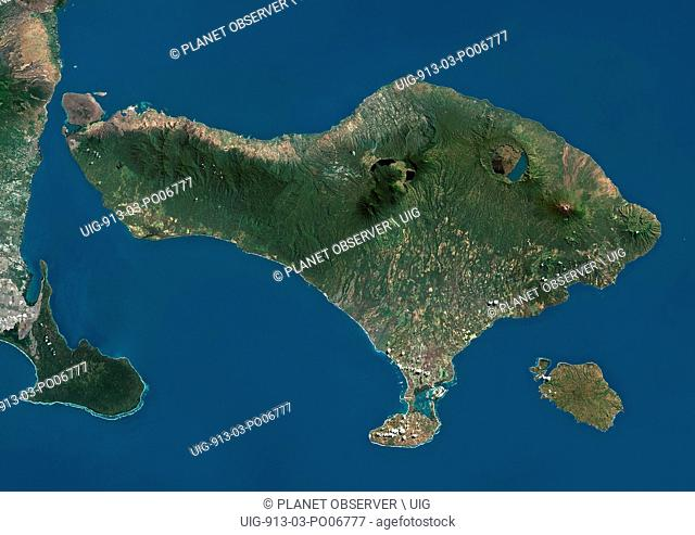 Satellite view of Bali. This image was compiled from data acquired by Landsat satellites