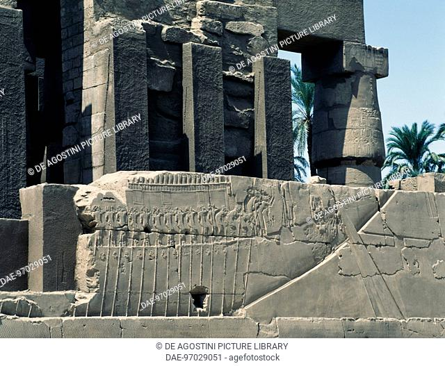Transportation of the sacred boat, relief, east exterior wall of the Great Hypostyle Hall, Karnak temple complex (Unesco World Heritage List, 1979)