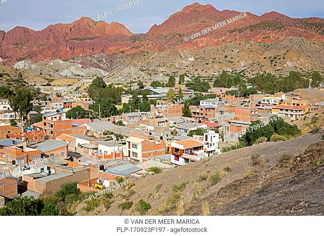Aerial view over Tupiza, capital city of the Sud Chichas Province within the Potosí Department, Bolivia