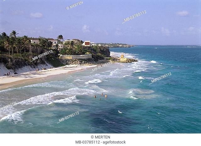 Caribbean, little one Antilles, island Barbados,  Crane Beach, sea, swimmers  West Indian islands, Caribbean island, Caribbean sea, destination, beach