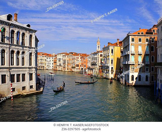 Grand Canal with gondolas, Venice, Italy