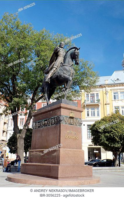 Equestrian statue of King Danilo, historic district, UNESCO World Heritage Site, Lviv, Ukraine