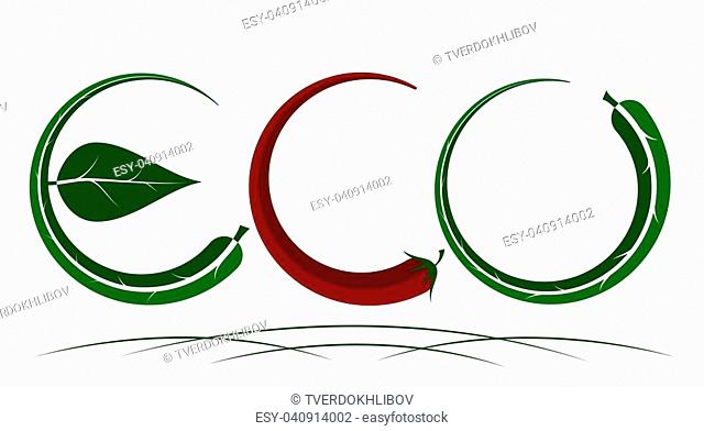 Logo on the theme of ecology, energy saving, organic. Green natural color. Pepper