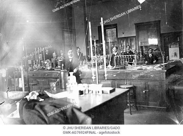 Sepia photograph of interior of Chemistry Lab B, under the direction of Herman Morse, at Old Campus Johns Hopkins University