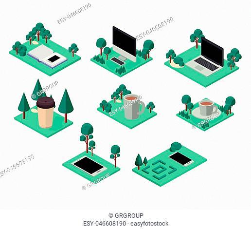 workplace elements isometric set icons vector illustration design