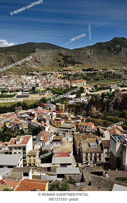 View of modern movie theatre and ancient Alcazaba wall and tower in Loja Granada Spain