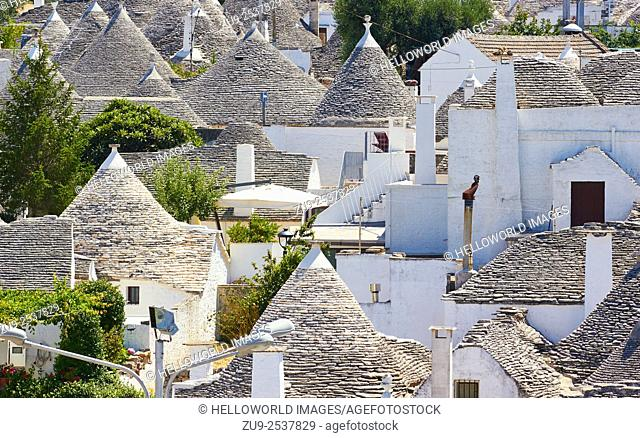 Trulli, Alberobello, Puglia, Italy, Europe. . Trulli are traditional circular shaped stone dwellings with a conical roof