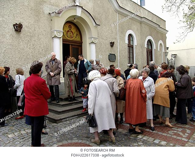 byzantine, person, outside, congregation, bulgaria, people