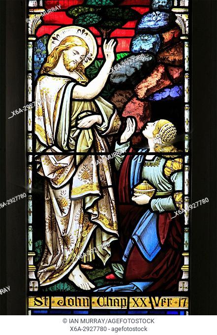 Church of Saint Mary, Dallinghoo, Suffolk, England, UK stained glass window John chapter 20 verse 17