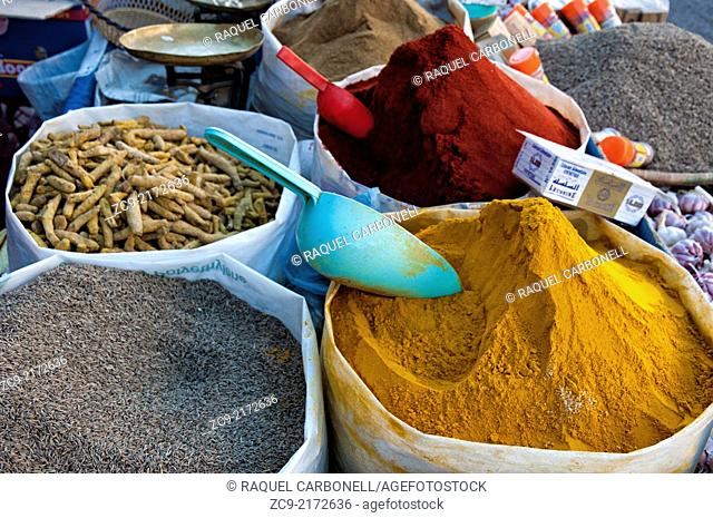 Colorful spicies at a streets stall in the market area of the ancient medina, Tiznit, Morocco