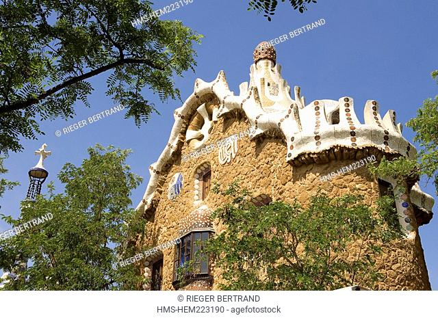 Spain, Catalonia, Barcelona, Gracia District, Guell Park by Antoni Gaudi, listed as World Heritage by UNESCO