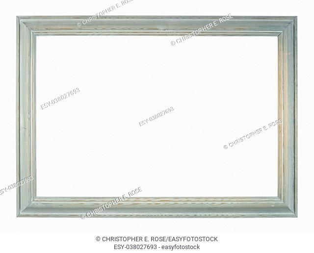 Empty picture frame, distressed hand painted blue finish