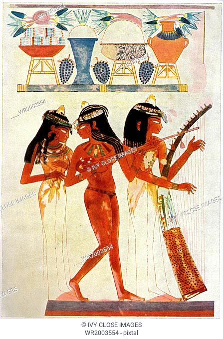 This wall painting is from the Tomb of Nakht on the West Bank of the Nile at Thebes. Nakht was an 18th Dynasty (New Kingdom) scribe with the title of Astronomer...
