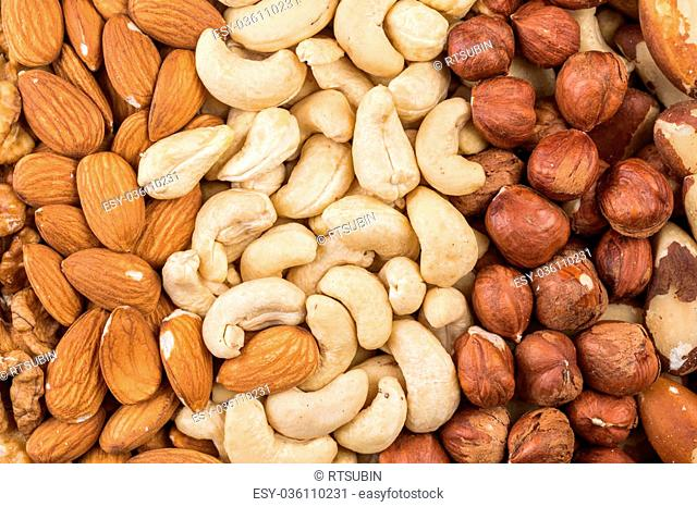 Variety of Mixed Nuts as a background - close up image