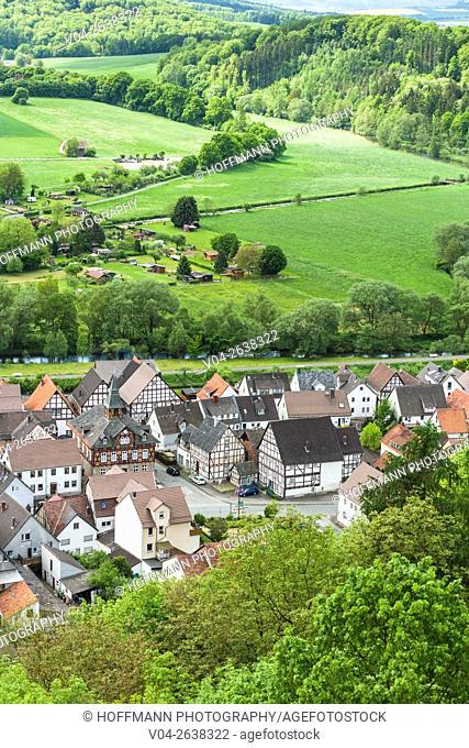 Aerial view of Helmarhausen, a suburb of Bad Karlshafen, Hesse, Germany, Europe