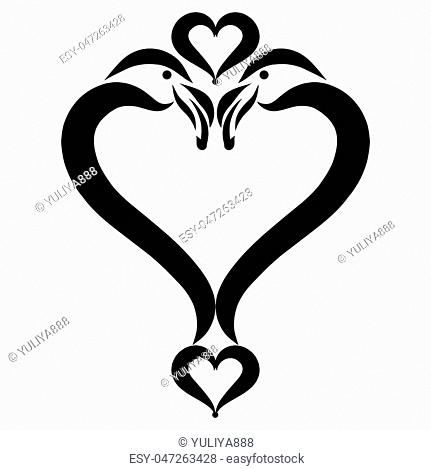 Heart, a symbol of birds, romance and love