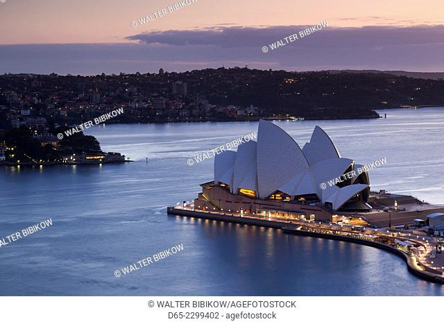 Australia, New South Wales, NSW, Sydney, Sydney Opera House, elevated view, dusk