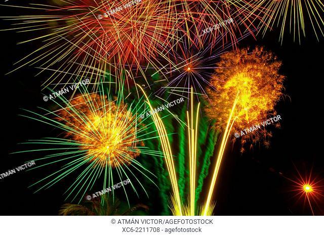 fireworks in Puerto de la Cruz municipality. Canary islands. Spain