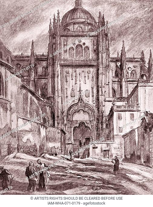 Illustration depicting Salamanca Cathedral, Spain 1936. By Carlos Saenz de Tejada (1897 - 1958 ) Spanish painter and illustrator;identified with the Nationalist...