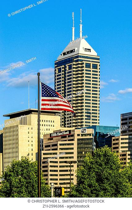 The downtown city skyline of Indianapolis, IN
