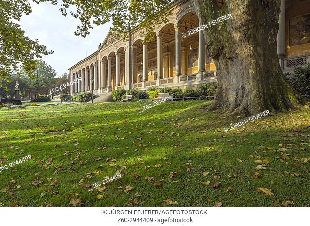 the old pump house, Trinkhalle, with open colonnades, spa town Baden-Baden, Baden-Wuerttemberg, outskirts of Black-Forest, Germany