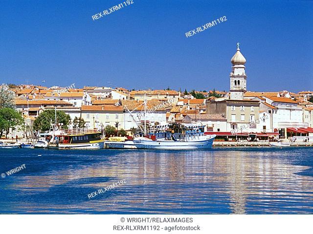View of Krk harbour, Krk Island, Croatia, Europe