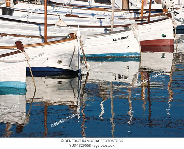 Small traditional white Mallorcan fishing boats, Port de Soller, Mallorca, Spain