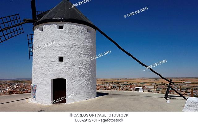 Windmill in Consuegra, a small town in Toledo province, Spain, Europe