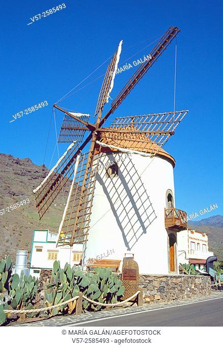 Traditional windmill. Mogan, Gran canaria island, Canary Islands, Spain