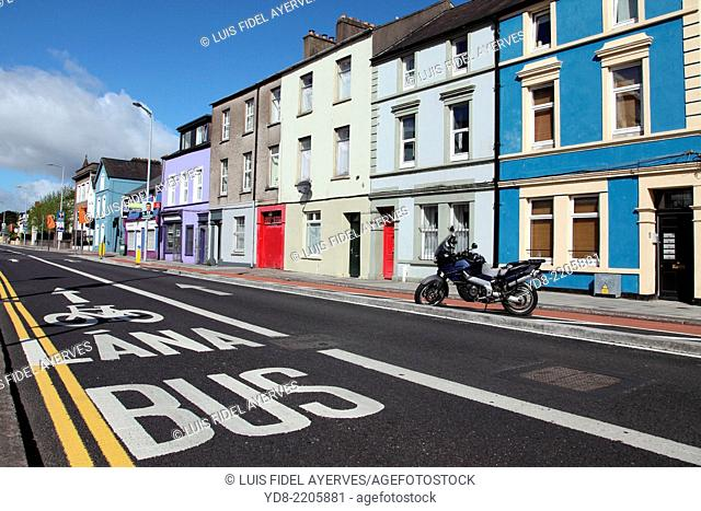 Street in the city of Cork in the sign of the bus stop, Ireland, Europe