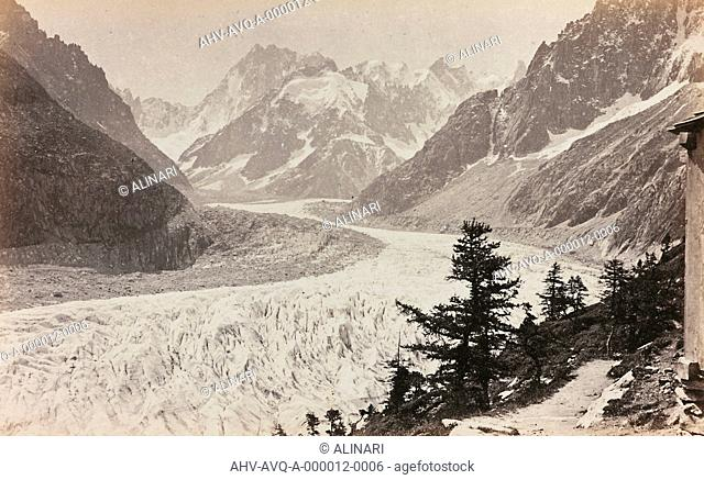 View of Montenvers, near Chamonix-Mont-Blanc, shot 1860-1880 by Charnaux, F