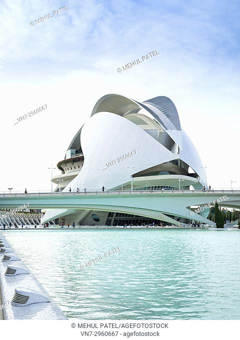 Palau de les Arts (Opera house and music venue) in the City of Arts and Sciences complex, Valencia, Spain, Europe. The Palau de les Arts designed by local...
