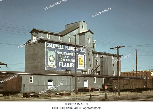 Flour Mill, Caldwell, Idaho, USA, Russell Lee for Farm Security Administration - Office of War Information, July 1941