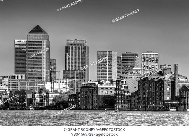 Canary Wharf and The River Thames, London, England