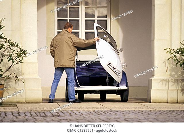 Car, BMW Isetta, vintage car, below 1950s, fifties, white-blue, standing, front view