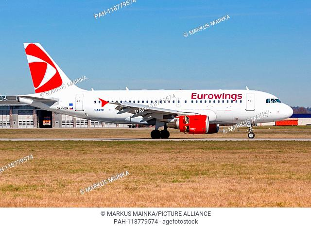Stuttgart, Germany – March 21, 2019: Eurowings Airbus A319 airplane at Stuttgart Airport (STR) in Germany. | usage worldwide. - Stuttgart/Germany