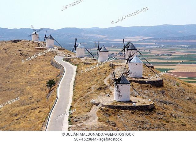 Overview mills Consuegra from one of the towers of the Castle Consuegra, Toledo, Castilla La Mancha, Spain