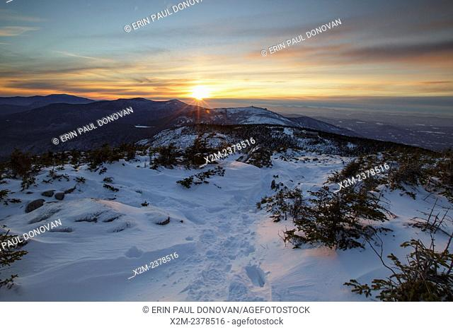 Sunset from Greenleaf Trail on Mount Lafayette in the White Mountains, New Hampshire USA during the winter months